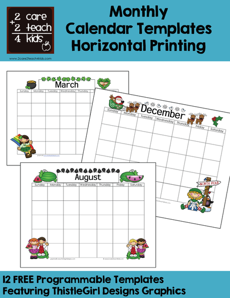 Calendars   Free Printable Templates   2care2teach4kids.com