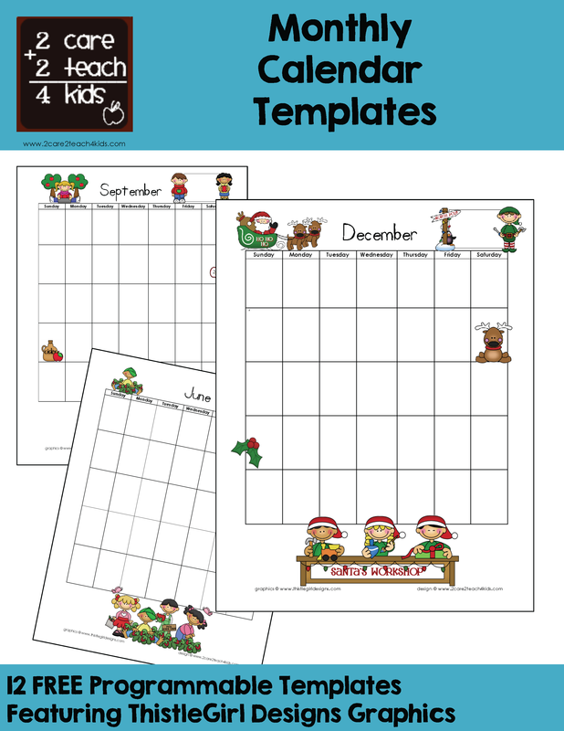 Calendars - Free Printable Templates - 2care2teach4kids.com ...