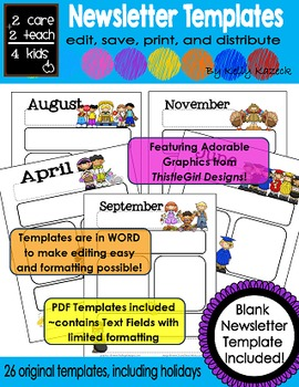 Basic Newsletters - Free Printable Templates -2care2teach4kids.com ...