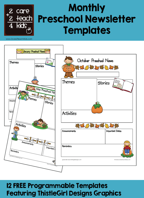 Newsletters - Free Printable Templates -2care2teach4kids.com ...